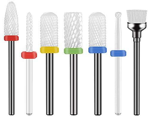 Punte Fresa Unghie Ceramica, Homeet Punta da trapano per Manicure Professionale Trapani per Manicure Set di Punte per Fresa Universali per Unghie 7PC Punte in Ceramica per Unghie Trapano Elettrico