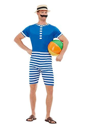SMIFFYS 50726L costume da bagno anni '20, da uomo, blu e bianco, taglia L, 106,7-111,8 cm