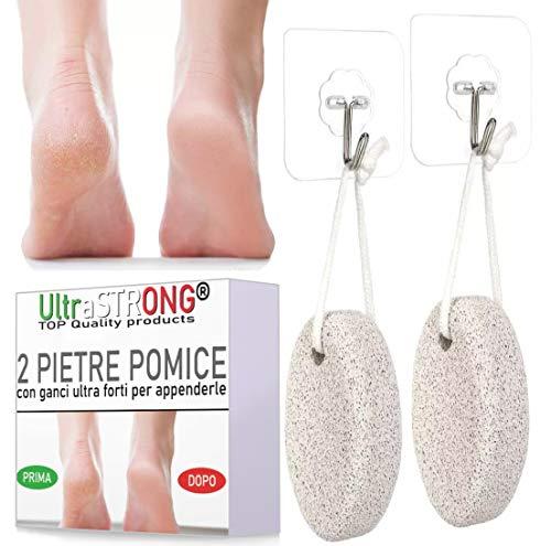 Pietra Pomice Esfoliante Piedi UltraSTRONG - Qualità Garantita - 2 pietre pomice piedi, pedicure naturale, scrub rimozione pelle morta e calli piedi - pulizia piedi