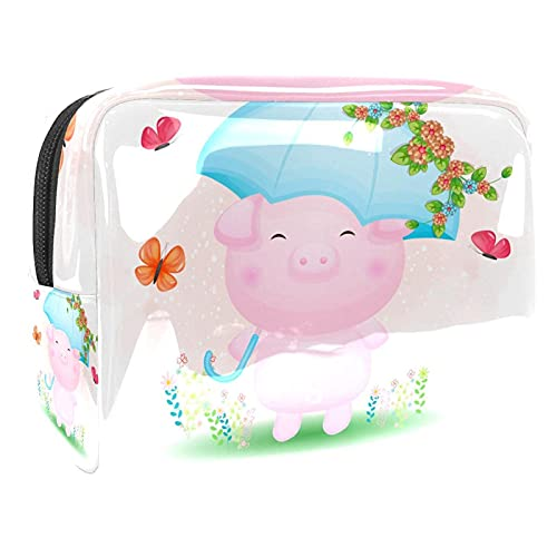 Cosmetic Bag for Women Piggy Blue Umbrella Adorable Roomy Makeup Bags Travel Waterproof Toiletry Bag Accessories Organizer 7.3x3x5.1in
