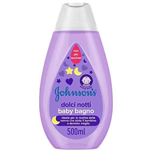 JOHNSON'S Baby, Bagno detergente, Dolci Notti, per Bambini, Senza Coloranti Ftalati e Solfati, Non Più Lacrime, con Essenze Calmanti NaturalCalm, 500ml