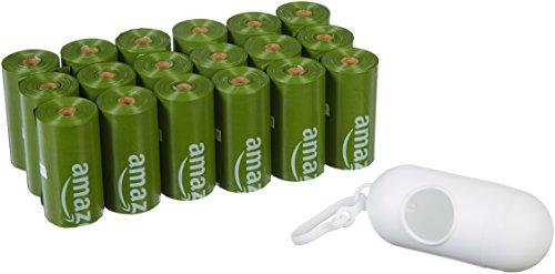 AmazonBasics - Sacchetti igienici per cani con additivi certificati EPI e dispenser e clip per attacco al guinzaglio, confezione da 270 sacchetti
