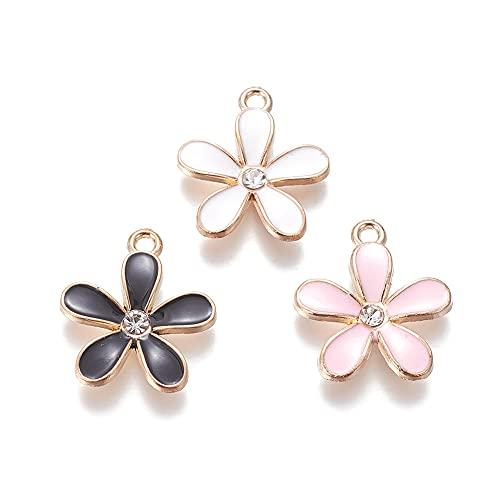 Fashewlery 50 ciondoli a forma di fiore smaltati in lega di colori misti con strass 20,5 x 18 mm, per fai da te e creazione di gioielli