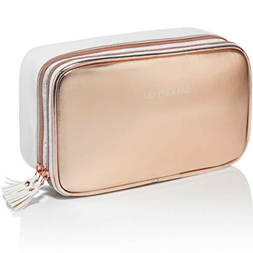 Trousse Trucchi Oro Rosa/Pochette per Trucchi e Cosmetici. Garanzia a vita. La Migliore Idea Regalo, Lily England