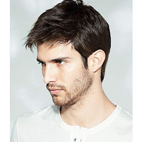 Becus Parrucca da uomo 100% capelli corti a strati diritti con frangia libera per l'uso quotidiano Natural Black