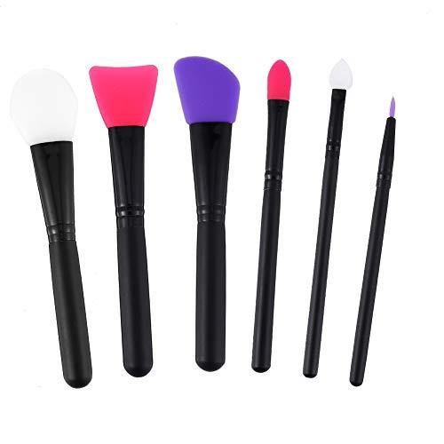 Angelikashalalala - 6 pennelli in silicone per fango facciale, pennello da fango, pennello per applicare il viso, pennello per occhi