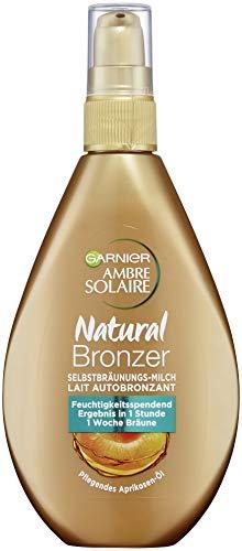 Garnier Ambre Solaire Natural Bronzer Latte per un'abbronzatura naturale che dura fino a 1 settimana, assorbe rapidamente, 150 ml