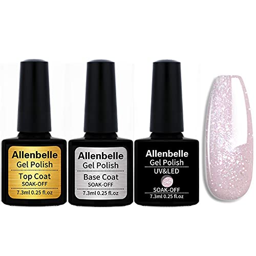 Allenbelle (Base & Top Coat + one colore) Smalto Semipermanente Nail Polish UV LED Gel Unghie Base Coat&Top Coat (Kit di 3 pcs 7.3ML/pc) (1326)