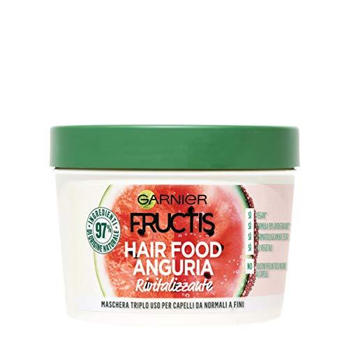 Garnier Fructis Hair Food Anguria Rivitalizzante, Maschera 3-in-1 per Capelli Fini, Balsamo, Maschera e Trattamento senza Risciacquo, 97% di Ingredienti di Origine Naturale, Senza Siliconi