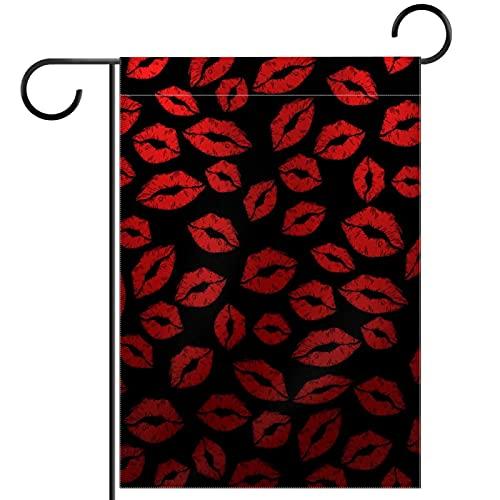 Bandiera del giardino,Bacio di rossetto scuro ,Bandiere per esterni stagionali 12 x 18 su due lati decorativi per giardino domestico