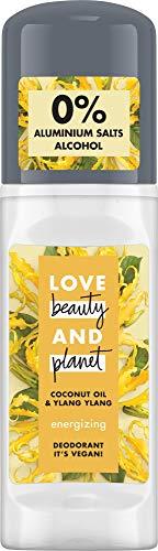 Love Beauty and Planet Energizing Deo Roll-On per la cura delle ascelle, olio di coconut e Ylang Ylang Flower senza alluminio, 1 pezzo (50 ml)
