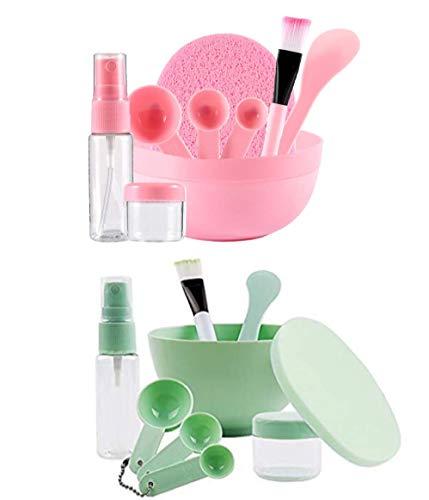 OUKAIDE-9 pc/Set Maschera per il viso di miscelazione di miscelazione Kit Bowl Set fai da te maschera facciale strumento con la ciotola del bastone pennello calibro Spoon(verde e rosa, set da 2)