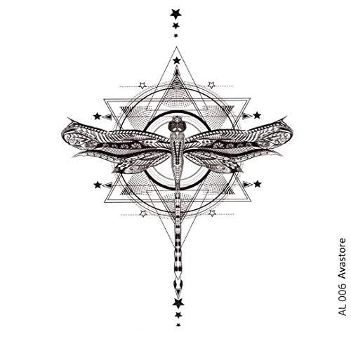 AVASTORE - Tatuaggio temporaneo da donna, motivo: libellula, geometrico, stella, colore: nero