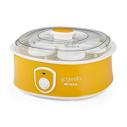 Ariete 617 Yogurella Yogurtiera elettrica con 7 vasetti in vetro, Capacità totale 1,3kg di yogurt, 20W, Bianco/Giallo