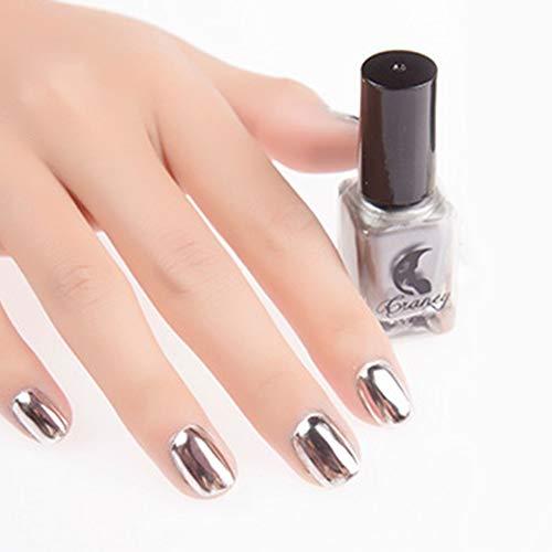 WiFndTu - Smalto per unghie, 6 ml, effetto cromato metallizzato, effetto specchio, colore: argento