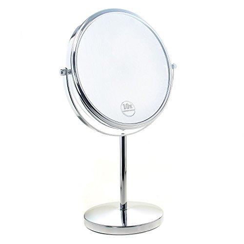 TUKA Specchio Bagno per Trucco 10X Ingranditori, 8' Doppio Specchio Cosmetico con Piedistallo, ø 20 cm Specchio da Tavolo per Trucco e Rasatura, 2 Facciate Vanity Mirror, Cromato, TKD3108-10x