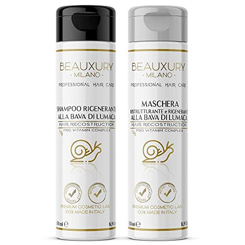 Kit Repair Danni da Tintura e Decolorazione: Shampoo e Maschera 500+500 ML alla Bava di Lumaca + Cheratina Basso Peso Molecolare + Provitamina B5 | NO SILICONI,SLES,SLS