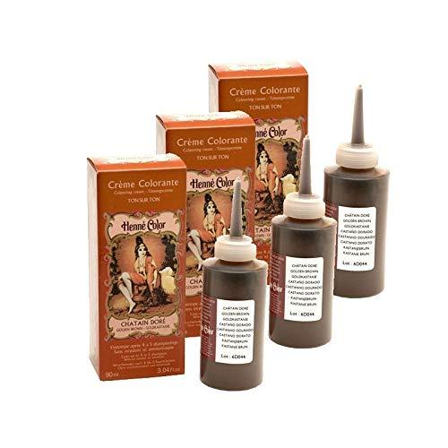 Set di 3 creme coloranti a forma di guaino, dorate, 100% naturale, senza solfati, per capelli, colorazione semi permanente, cura dell'henné Capillare, 3 x 90 ml