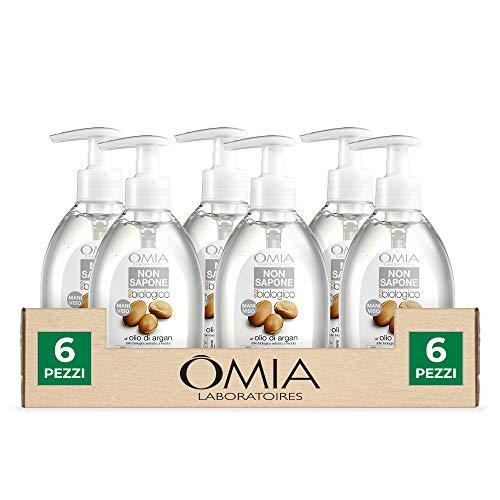 Omia, Non Sapone Liquido per Viso e Mani Ecobio Olio di Argan, Ideale per Pelli Aride e Irritabili - Dermatologicamente Testato, Senza Nichel, Cobalto e Cromo - Confezione da 6 Pezzi da 300 ml
