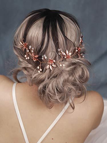 Handmadejewelrylady, fascia per capelli con foglie oro rosa, accessorio da sposa, tiara nuziale