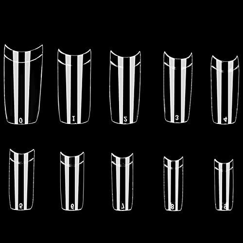 Chstarina 500pcs Unghie Finte Trasparenti Acrilico Artificiale Falsi Unghie, Unghie Finte da Donna per Saloni di Manicure, 10 Taglie (trasparente)