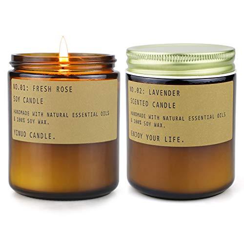 TOFU Candele profumate, Cera di soia Naturale con Oli Essenziali Candela Regalo per Donna Confezione da 2(Lavender & Rose)