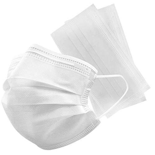 WW 50 maschere usa e getta per il viso a 3 strati, protezione dalla polvere, morbida e traspirante, per esterni (bianco, 50)