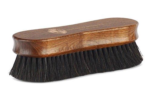 Langer & Messmer spazzola da scarpe PREMIUM in crine di cavallo - nera per lucidare le scarpe - La spazzola per lucidatura professionale