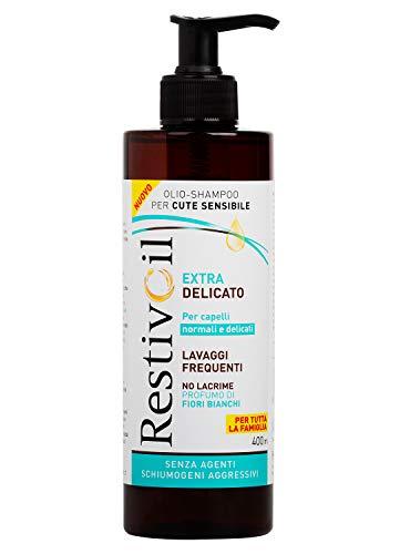 RestivOil Extra Delicato Shampoo Idratante per Capelli da Normali a Delicati, Olio Shampoo con Aroma di Fiori Bianchi, Suggerito per Lavaggi Frequenti, 400 ml