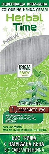 Crema colorante per capelli con estratto di Henné e Ortica - Colore Bionda d'argento 1, Senza Ammoniaca, Senza Solfato, Senza Parabeni