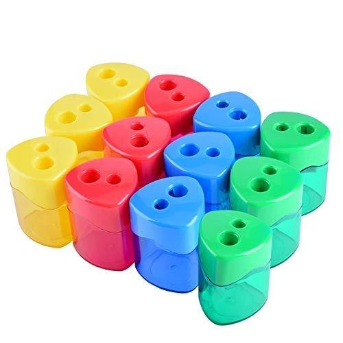 iwobi 12 pezzi Temperamatite Manuale con Copertura,Temperamatite Creativo Bambini per Ufficio e Scuola(4 colori)