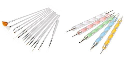 JZK® Set di 20 pennelli e dotter kit con punte tutte diverse per nail art, disegni di precisione, manicure pedicure