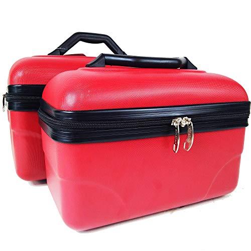 2 Beauty Case da viaggio 30/35cm, colore Rosso, Valigie robusti trolley rigidi
