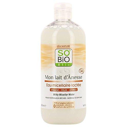 SO' BIO ETIC - Mon Lait d'Ânesse - Acqua Micellare - Con Latte d'Asina - Dolcezza - Idratante e Lenitivo - 99% naturale - Pulizia e Morbidezza - 500 ml