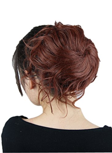 Prettyland - Chignon spettinato extension grande toupet capelli Posticcio elastico per capelli scrunchy nastro coda- R06 rosso mogano