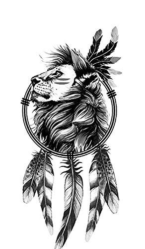 Tatuaggio a forma di leone, acchiappasogni, per festival