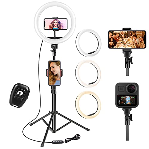 UPhitnis Ring Light, Luce per Selfie, 63' staffa triangolare, Luce ad Anello LED da 3 modalità di illuminazione con 10 luminosità, per trucco, fotografia, Youtube e video selfie (10-pollice, Ground)