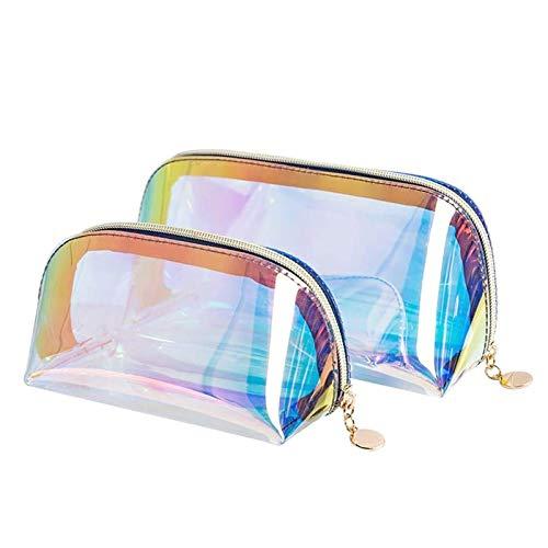 SoundZero 2 pcs Trousse olografica da donna trasparente, Cosmetica da Viaggio Astuccio per Trucchi Colorato Trasparente, sacchetto trasparente per trucco portatile in TPU per vacanze, viaggi, bagno