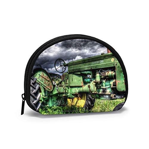 Vintage Flower Art Travel Shell Cosmetics Storage Bags Portamonete Portafoglio per cambio per donna con cerniera-Trattore-OneSize