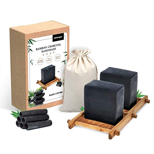 Sapone al Carbone di Bambù, 2Pcs Sapone Nero Naturale, Carbone di Bambù Sapone, Sapone viso controllo olio e comedone Pulito,Corpo Sapone Sapone per Tutti i tipi di Pelle