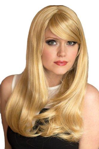 Annabelle - Parrucca lunga molto naturale, bionda dorata e chiara, taglio rasoio, telaio per il viso, 240 g