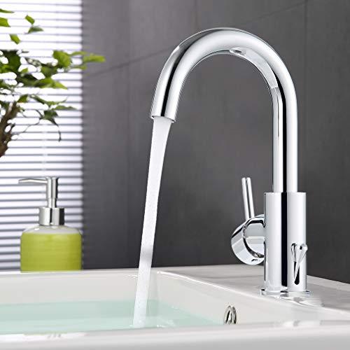 ubeegol 360 ° girevole rubinetto lavabo alto da bagno rubinetto cromato miscelatore monocomando lavabo in ottone lavandino rubinetto della cucina (senza piletta di scarico)