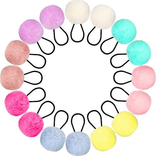 16 Pezzi Pom Pom Cravatte Palla di Pompon Fascia Elastica per Capelli Palla di Pelliccia Soffici Supporti per Coda di Cavallo per Donna Ragazza Accessori per Capelli per Bambini, 8 Colori