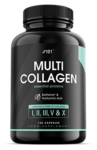 Complesso al Multi Collagene - 5 tipi di Collagene di Origine Alimentare - Bovino Nutrito ad Erba Idrolizzata, Pesce e Pollo non di Allevamento, con Acido Ialuronico e BioPerine®, 120 pz (1 Pack)