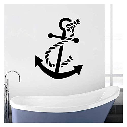 HAISERVEN Adesivi murali Tatuaggi da Parete Tatuaggi Barca Ancora Adesivo Vinile Decalcomania Decalcomania della Casa Decorazione della Decorazione Ancora Adesivo da Parete Stile Mare Sfondo Vinile W