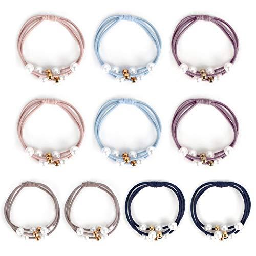 Jubaopen 10pcs Elastici Multicolore per Capelli con Perle finte Corda per Capelli con Perle per Donna Cravatte Fasce per Capelli con Perle Plastica per Coda di Cavallo per Ragazza