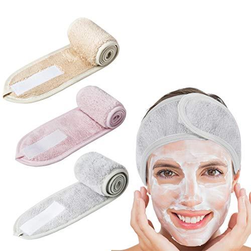 Fascia per capelli per make up, 3 pezzi, fascia per capelli con chiusura in velcro, in spugna, regolabile, con chiusura in velcro