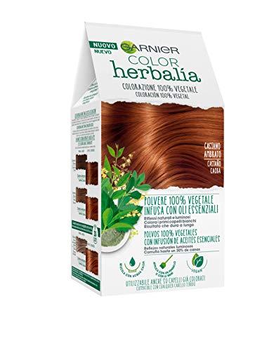 Garnier Herbalia Color, Colorazione Permanente per Capelli, 100% Vegetale con Henné, Indigo e Cassia per Riflessi Naturali e Luminosi, Capelli Rivitalizzati e Densificati, Castano Ambrato