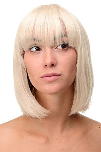 WIG ME UP - Parrucca Bellissimo Taglio Bob Biondo Mix di Biondo chiaro e Biondo oro Liscia da Donna Caschetto 25 cm 7803-303/220