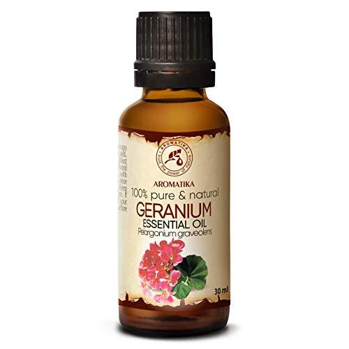 Olio Essenziale di Geranio Bourbon 30ml - Pelargonium Graveolens - Madagascar - 100% Puro & Naturale Rose Geranium per Bellezza - Aromaterapia - Bagno Aromatico - Profumo Ambientale